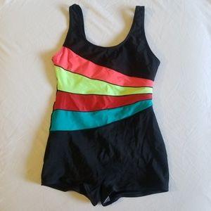 Lan Hanh Bright Stripe Boy Short Swimsuit Small